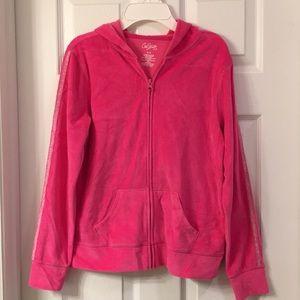 Girls Pink Velour Zip Hoodie Jacket 16